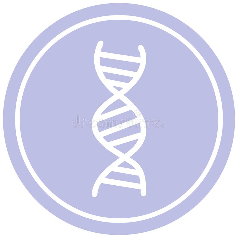 DNA chain circular icon symbol. A creative DNA creative chain circular icon stock illustration