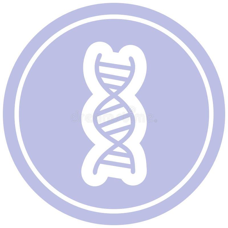 DNA chain circular icon symbol. Illustrated DNA chain circular icon symbol stock illustration
