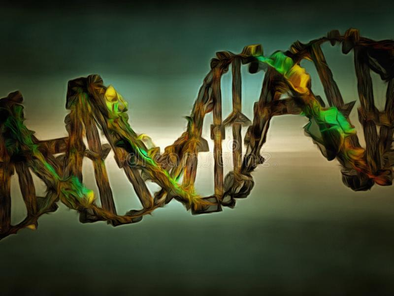 DNA chain. Damaged DNA chain. 3D rendering stock illustration