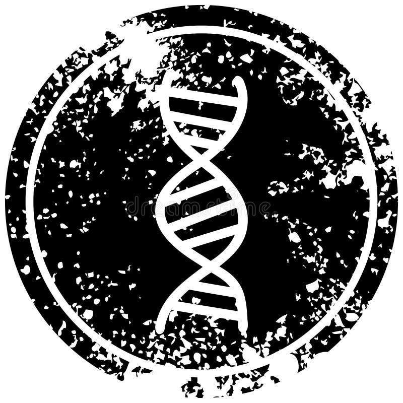 DNA chain distressed icon. A creative illustrated DNA chain distressed icon image stock illustration