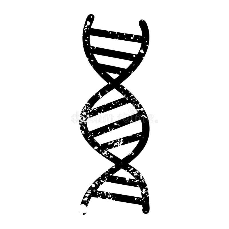 DNA chain distressed icon. A creative illustrated DNA chain distressed icon image vector illustration