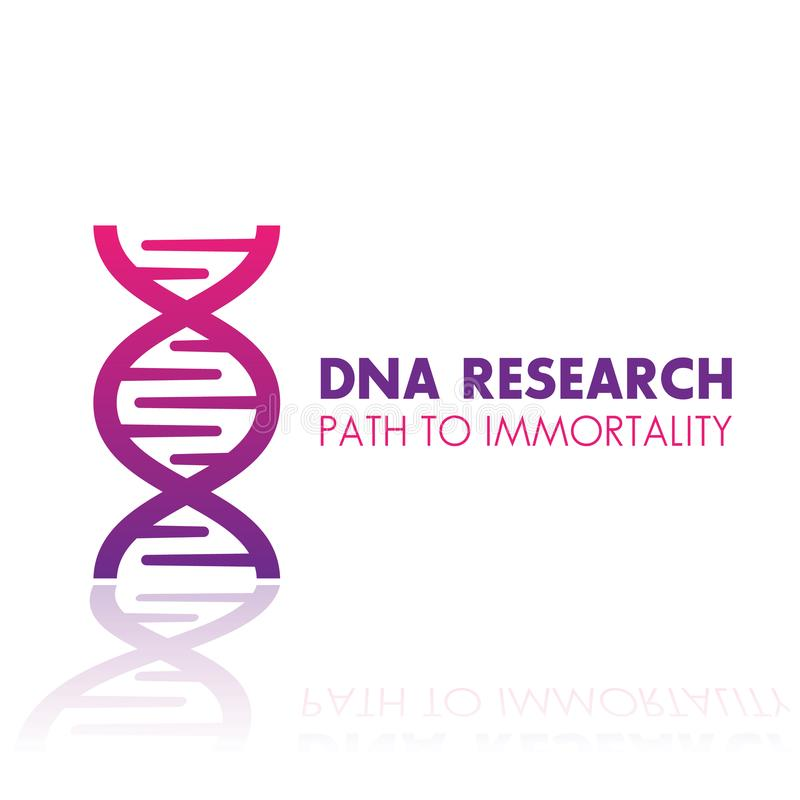 Dna chain, gene research logo element, icon. Over white royalty free illustration