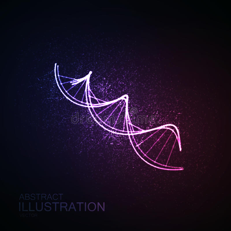 DNA chain icon. DNA shiny neon illustration. Vector medical illustration of DNA strand. Science genetic concept of DNA chain stock illustration