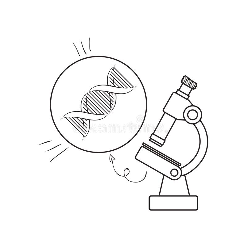 Dna chain with microscope. Vector illustration design stock illustration