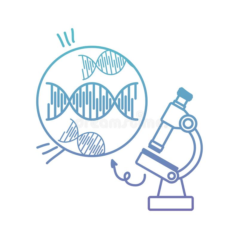 Dna chain with microscope. Vector illustration design royalty free illustration