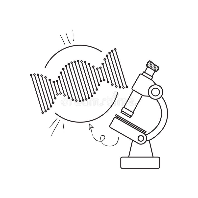 Dna chain with microscope. Vector illustration design vector illustration