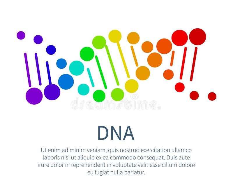 DNA Chain in Rainbow Colors on Scientific Poster. Biological material that carries genetic information. Bright DNA part isolated vector illustration royalty free illustration