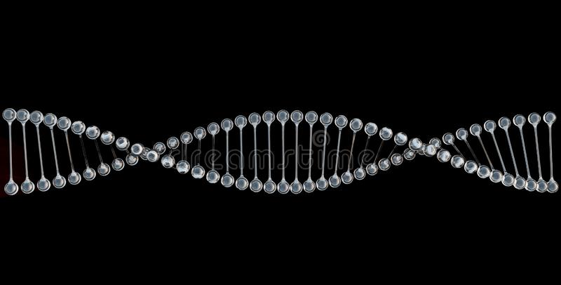 DNA chain spiral in diamond like transparent material, isolated on black background, concept of genetic engineering, research vector illustration