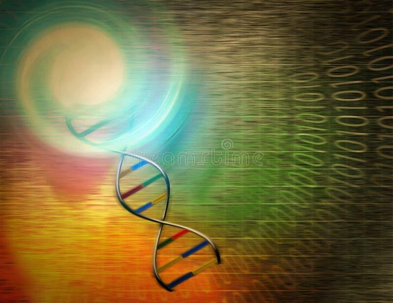 DNA chain. Surrealism. DNA chain. Binary code stock illustration