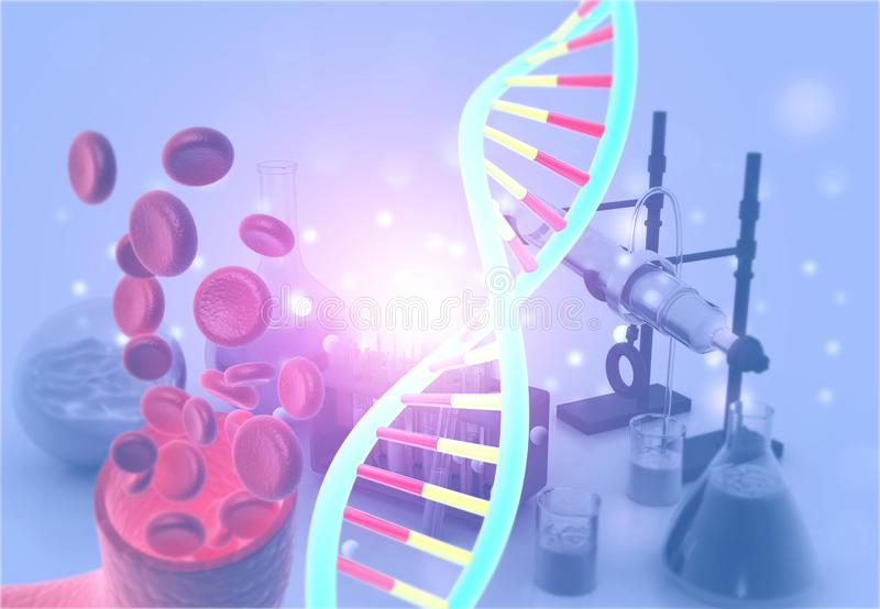 DNA in chemielaboratorium stock fotografie