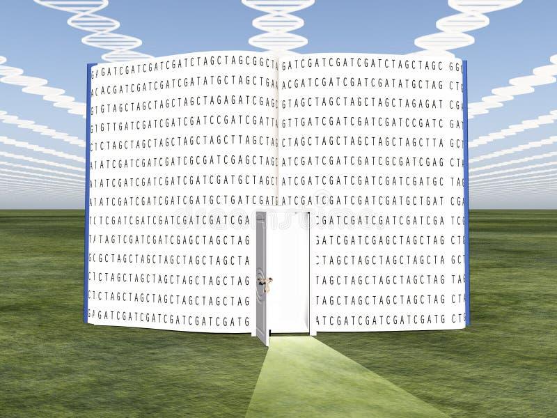 DNA chmurnieje z otwartą książką ilustracji