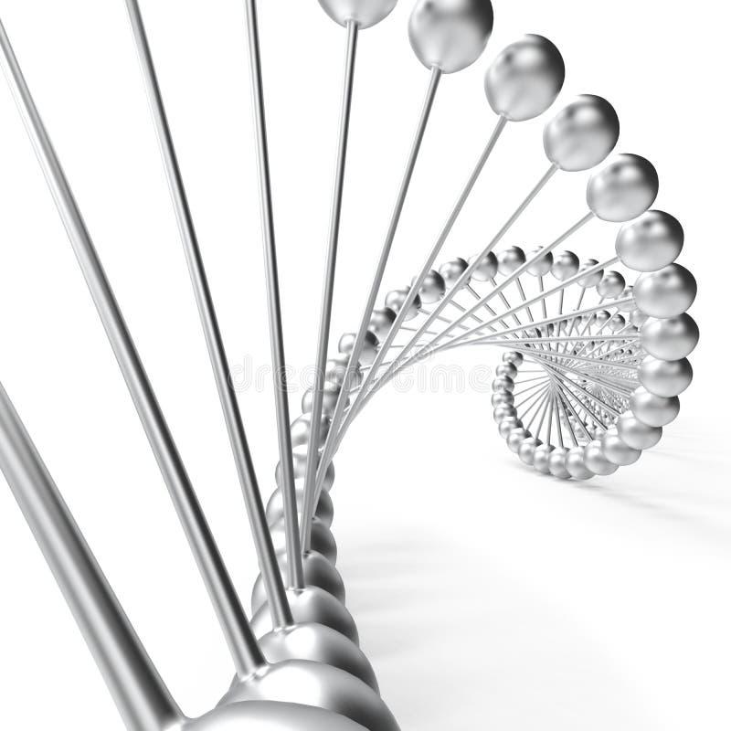 DNA-chroomspiraal met witte achtergrond vector illustratie
