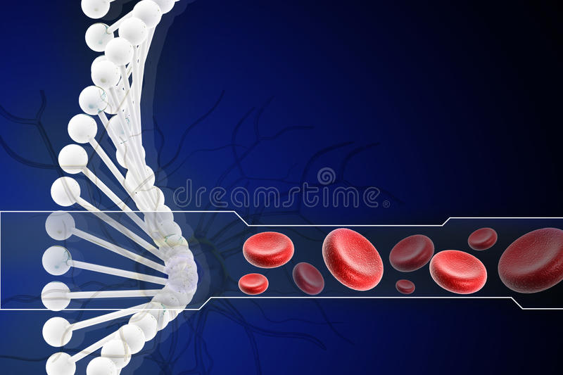 DNA con il globulo illustrazione di stock