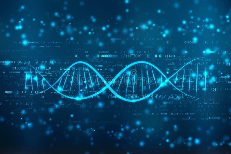 DNA cyfrowa ilustracja w medycznym abstrakcjonistycznym tle zdjęcia stock