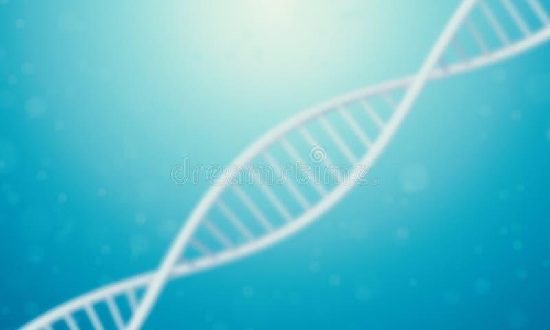DNA 3d in der blauen Flüssigkeit stock abbildung
