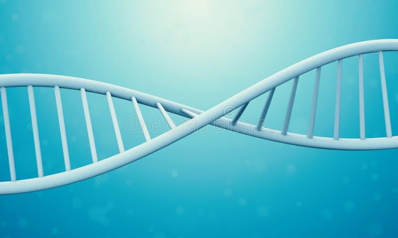 DNA 3d in der blauen Flüssigkeit lizenzfreie abbildung