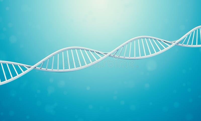 DNA 3d en líquido azul ilustración del vector