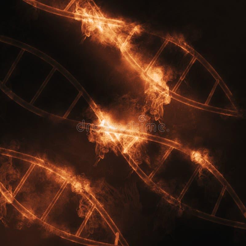 DNA 3D mit Rauch- und Feuereffekt lizenzfreie abbildung