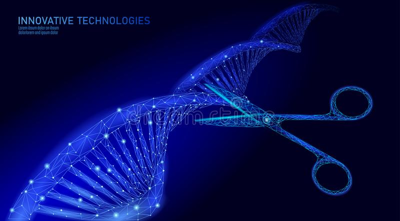 DNA 3D structure editing medicine concept. Low poly polygonal triangle gene therapy cure genetic disease. GMO. Engineering CRISPR Cas9 innovation modern stock illustration