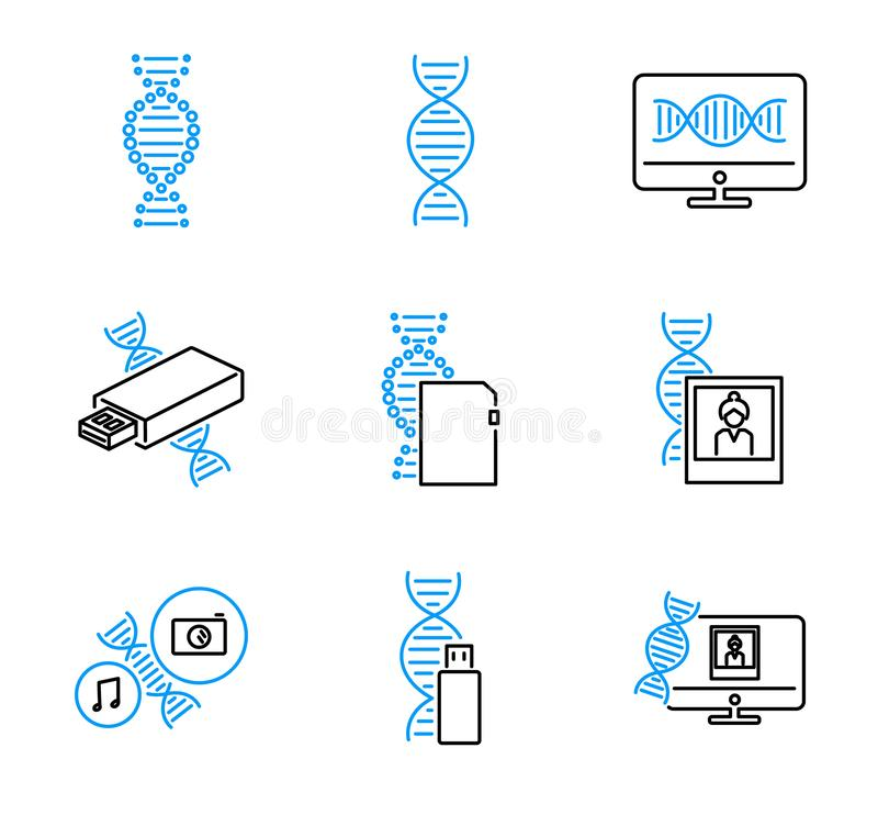 DNA data storage outline vector icons collection set royalty free illustration
