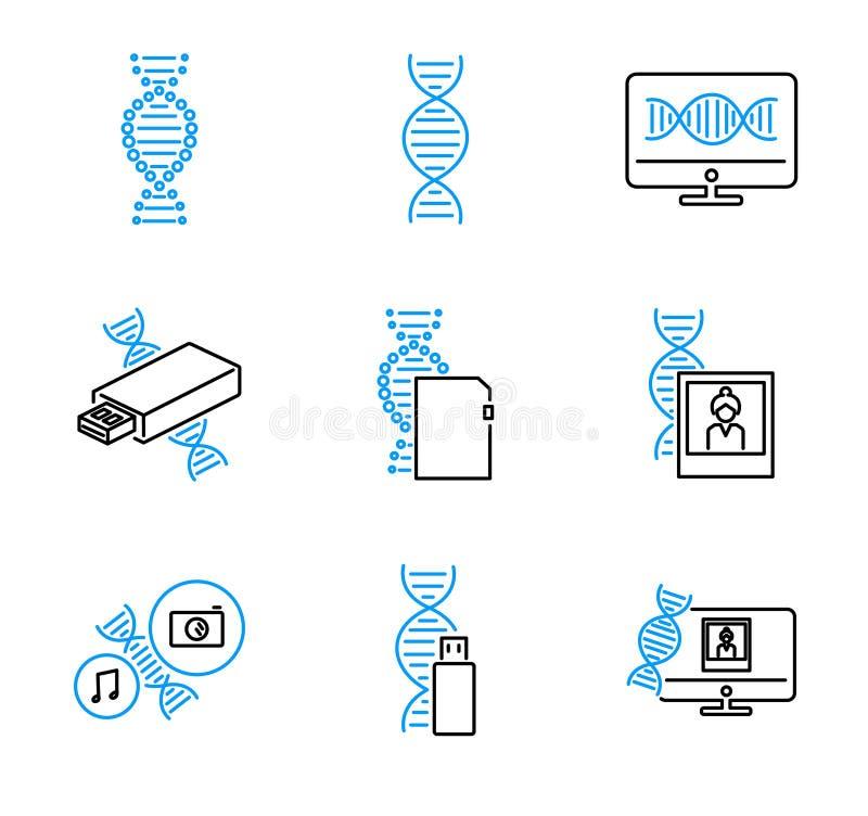 DNA-Daten-Speicher-Entwurfsvektorikonen-Sammlungssatz lizenzfreie abbildung