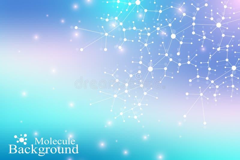 DNA de la molécula de la estructura átomo Molécula y fondo de la comunicación para la medicina, ciencia, tecnología, química libre illustration
