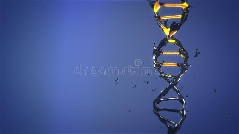 DNA-de molecule wordt vernietigd en verandert het roteren stock afbeelding