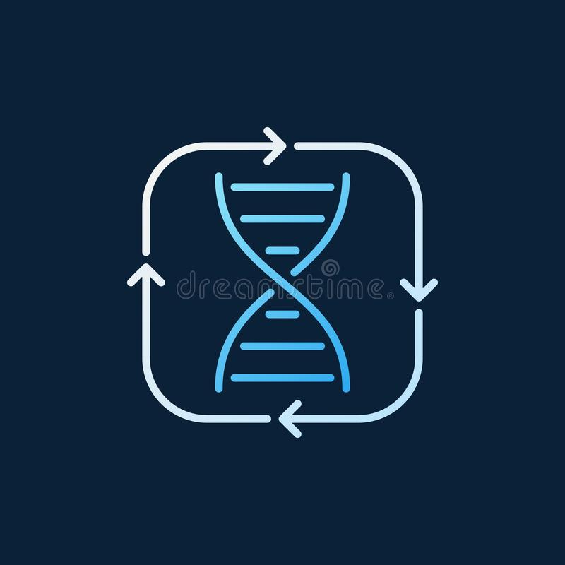 DNA dentro del icono coloreado concepto del esquema del vector de las flechas stock de ilustración