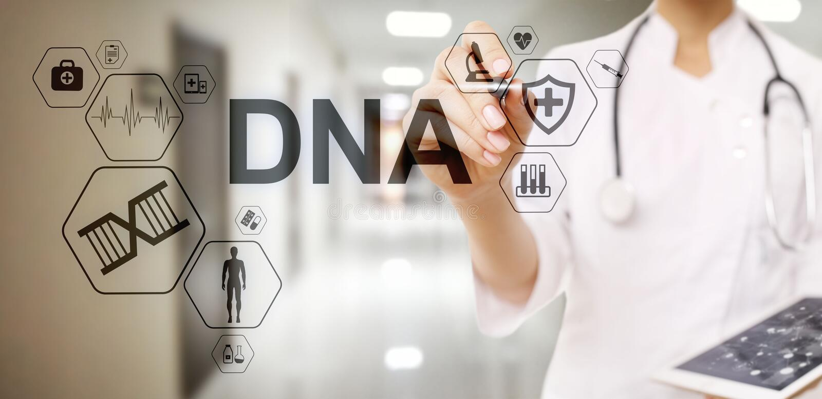 DNA deoxyribonucleic acid. Medical Healthcare Science concept on screen. royalty free illustration