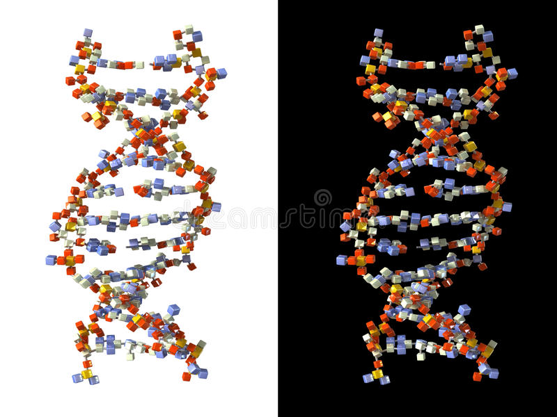DNA die van kubussen wordt gemaakt royalty-vrije illustratie