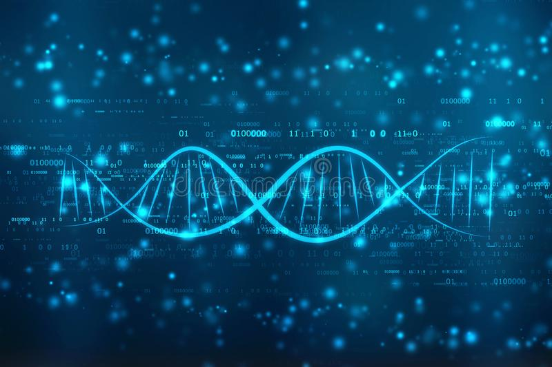 DNA digital illustration in medical abstract background stock photos