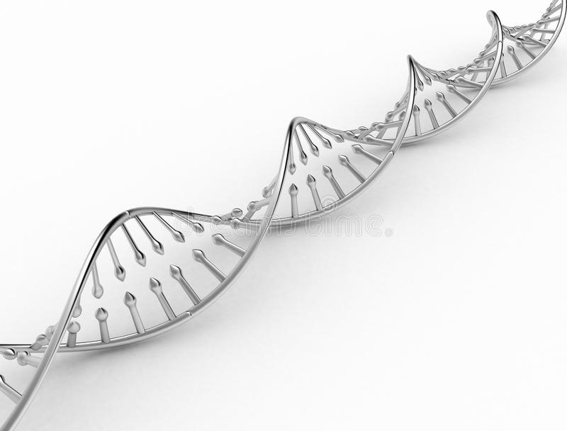 DNA double helix. Metal texture on white background vector illustration