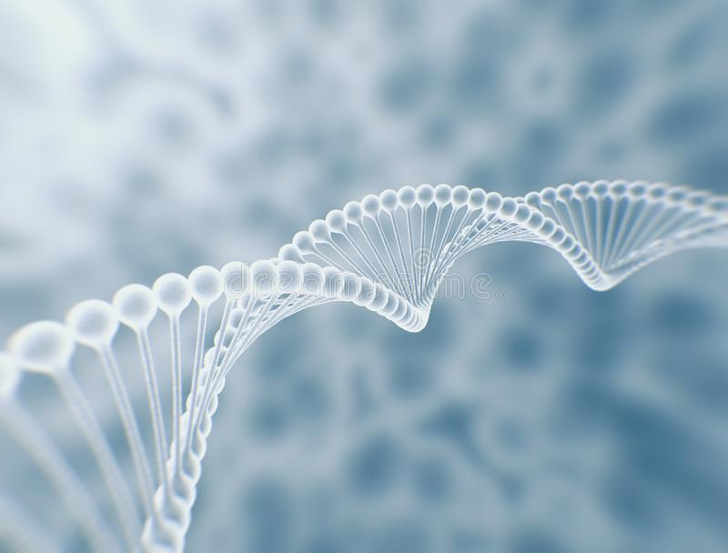 Dna double helix and cells on the background. stock photos