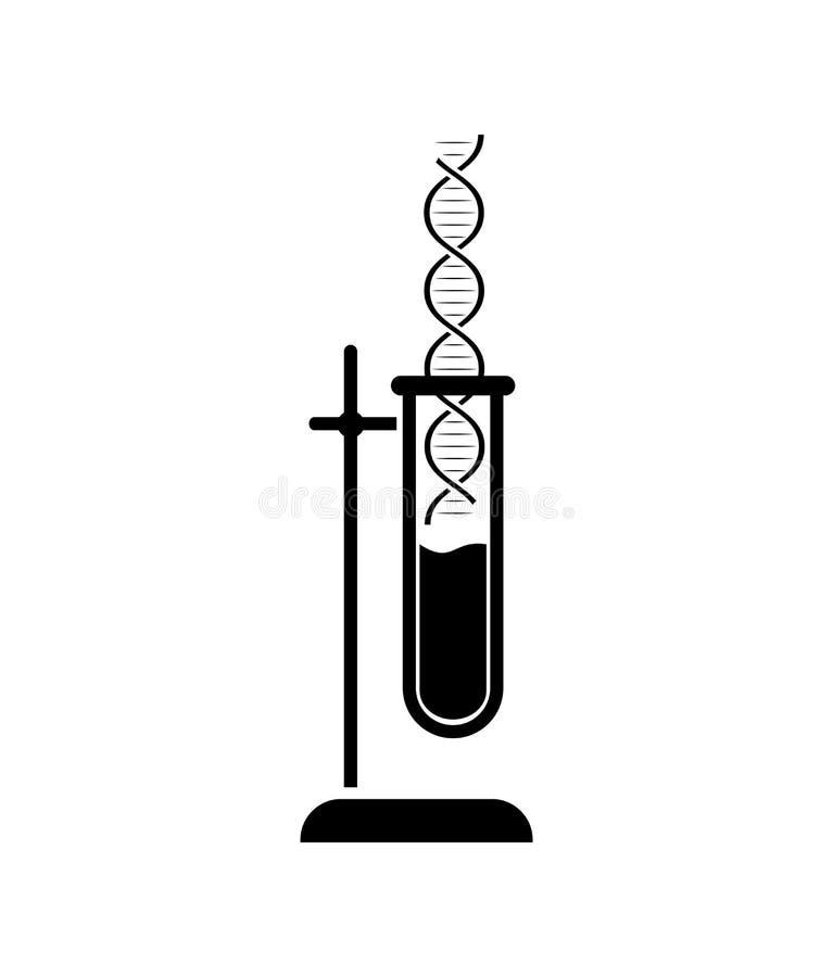 DNA ed icona in provetta Simbolo del laboratorio medico o chimico Logo del laboratorio royalty illustrazione gratis