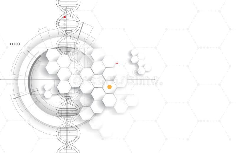 DNA en medische en technologieachtergrond futuristische molecule s vector illustratie