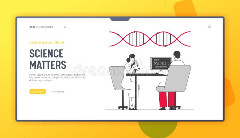 Dna Engineering and Genetics Science Website Landing Page. Scientists Conducting Scientific Experiment in Laboratory. With Microscope and Pc Web Page Banner royalty free illustration