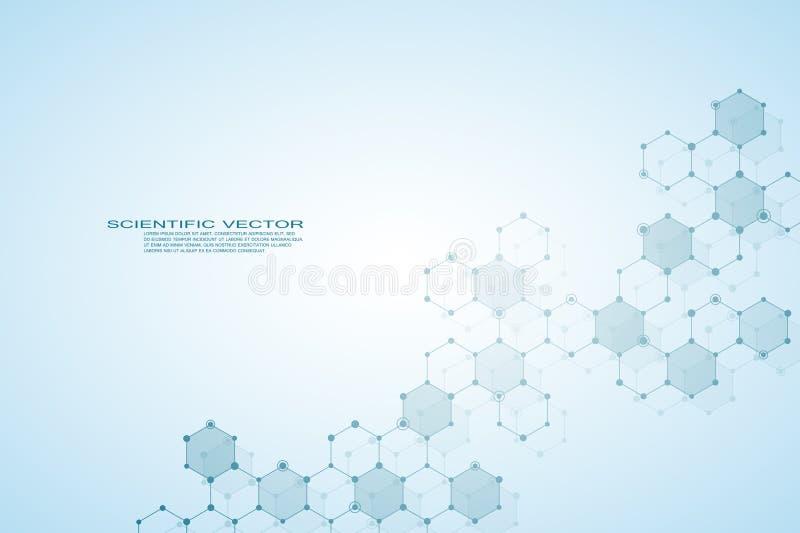 DNA esagonale della molecola della struttura del fondo medico o scientifico genetico e chimico del sistema dei neuroni, dei compo royalty illustrazione gratis