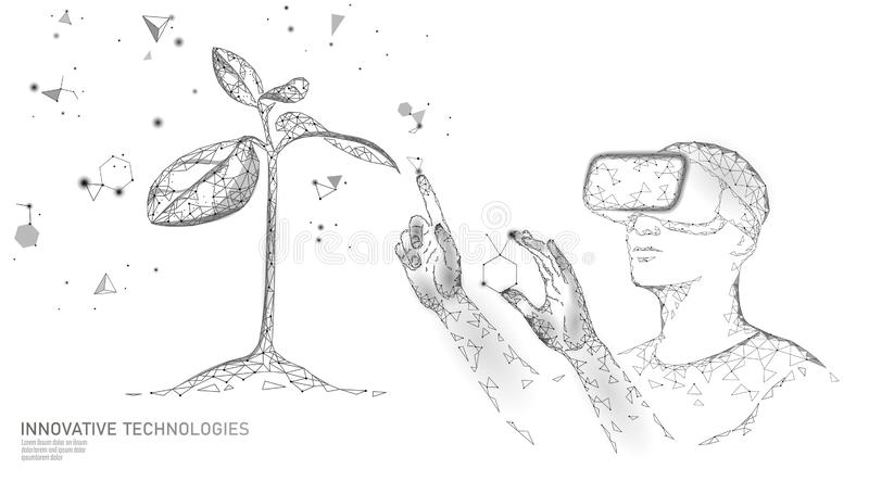 DNA evolution modern engineering technology. Augmented reality helmet vr glasses. Ecology nature gene innovation concept. GMO gene engineering plant organic vector illustration