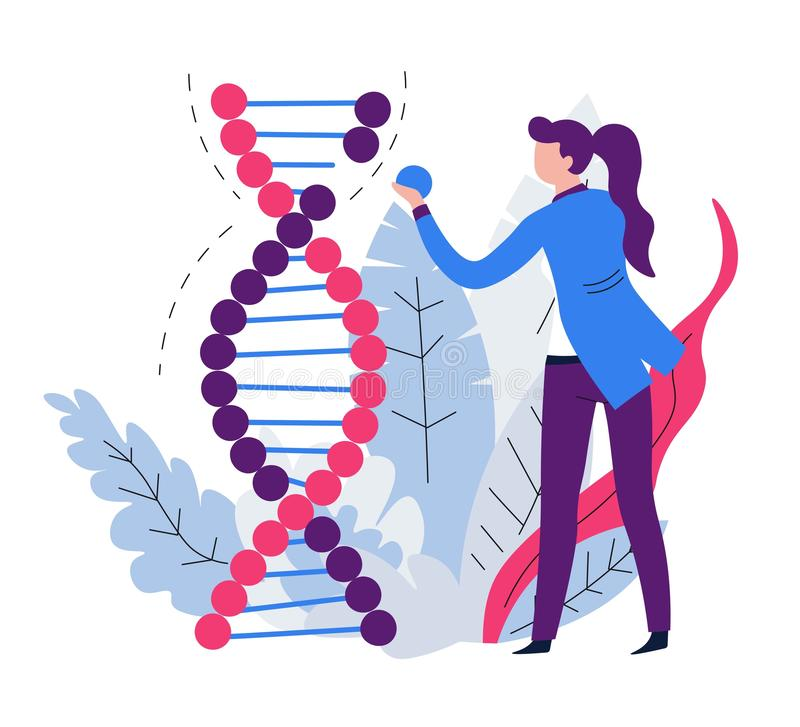 DNA experiments mutation woman scientist and genetics science. Woman scientist and genetics science DNA experiments mutation vector man and woman genetic code royalty free illustration