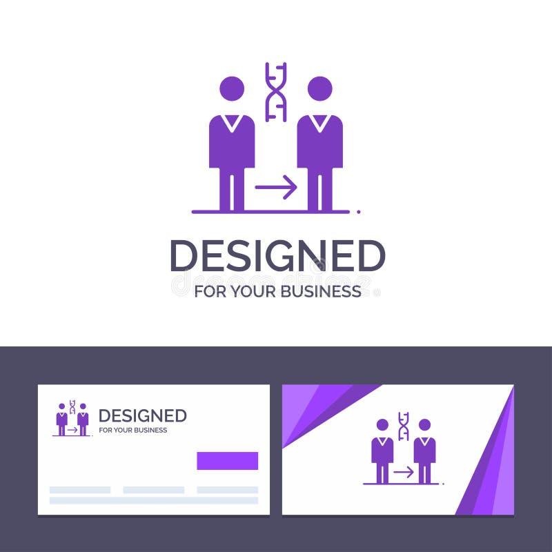 Dna för idérik mall för affärskort och logo, kloning som är tålmodig, sjukhus, vård- vektorillustration royaltyfri illustrationer