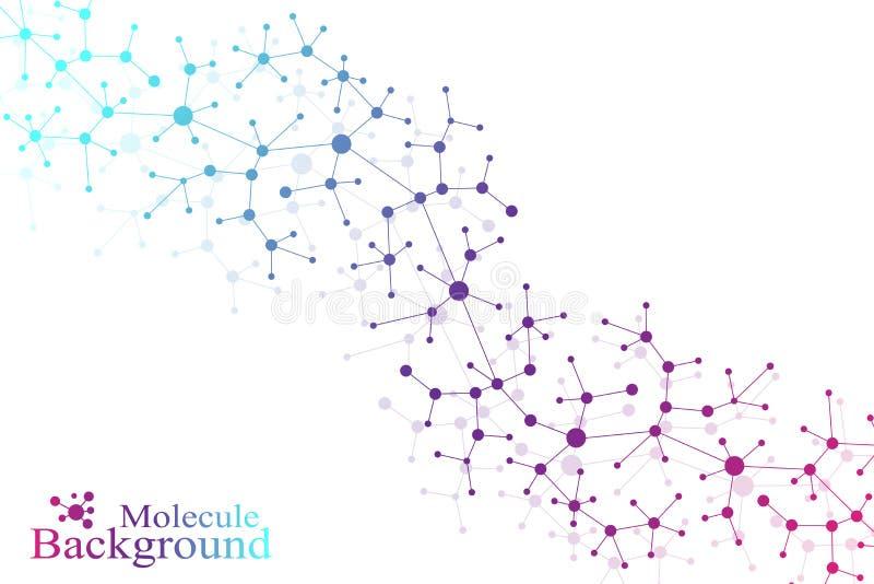 Dna för strukturmolekylatom och kommunikationsbakgrund Begrepp av neurons Förbindelselinjer med prickar illusion royaltyfri illustrationer