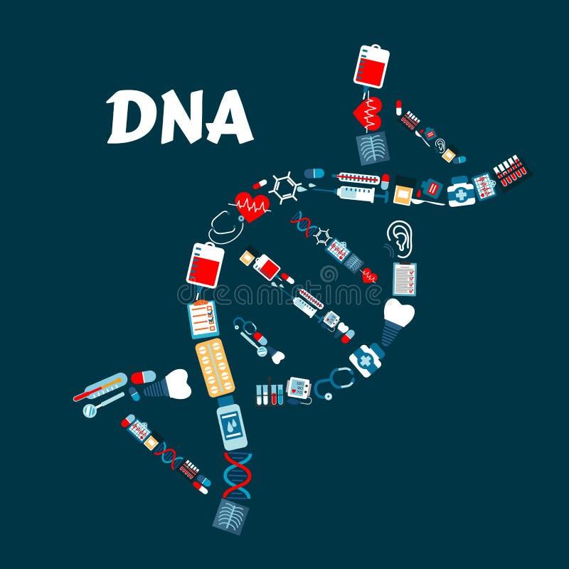 DNA formato delle icone della medicina o di sanità illustrazione di stock