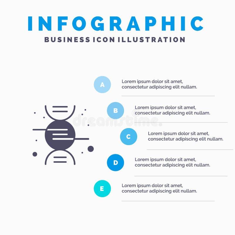 DNA, Forschung, Schritt-Darstellungs-Hintergrund Wissenschafts-fester Ikone Infographics 5 vektor abbildung