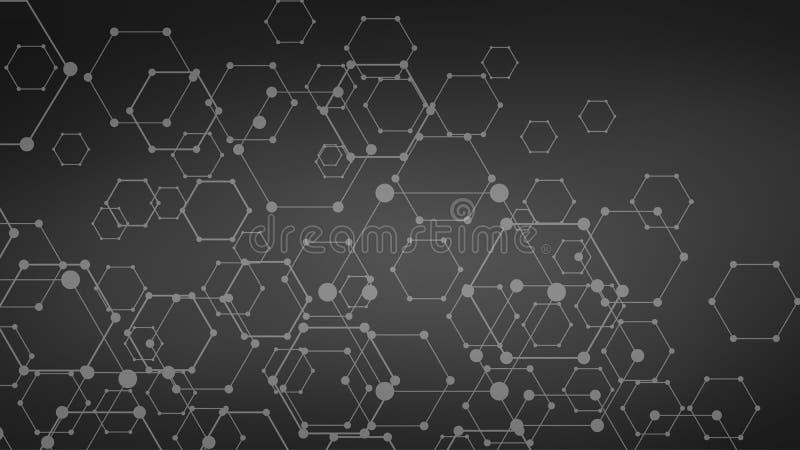 DNA futurista oscura, molécula abstracta, ejemplo de la célula ilustración del vector