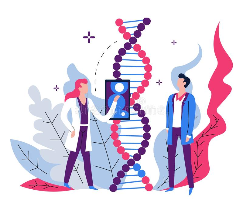 DNA genetic code examination lab equipment and scientists vector illustration