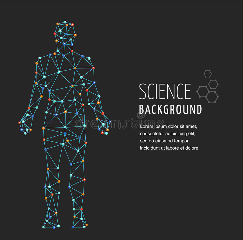 DNA, genetic symbol of man with dna molecule structure stock illustration