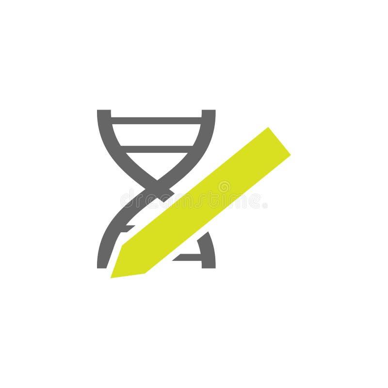DNA, geneticapictogram Element van het pictogram van het Wetenschapsexperiment voor mobiele concept en webtoepassingen Gedetaille royalty-vrije illustratie