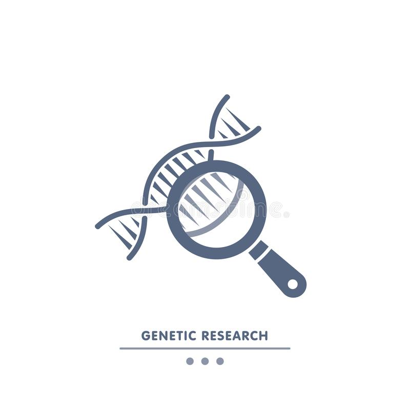DNA, genetics research. dna chain in magnifying glass sign. genetic engineering, cloning, paternity testing, DNA. Analysis. vector illustrationicon royalty free illustration