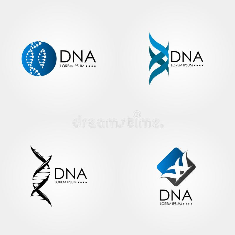 DNA genetiska Logo Art stock illustrationer