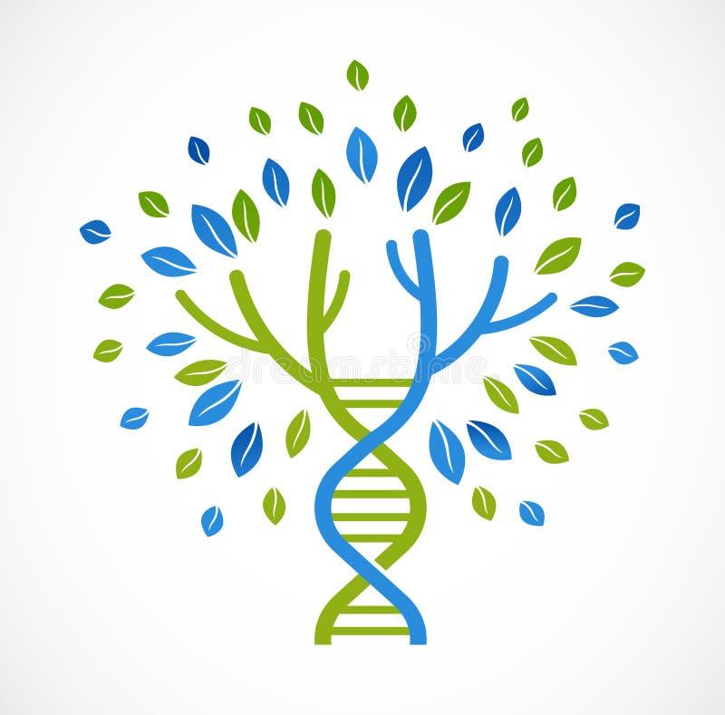DNA, genetyczna ikona - drzewo z zielonymi liśćmi royalty ilustracja